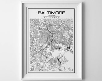 Baltimore Map print, City map, Baltimore poster, Extra large Wall art, Baltimore city map, USA map, Poster Map, United States Map, map
