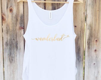Wanderlust Tank, Travel Shirt, Gym Tank Top, Yoga Top - Side Slit Tank Top