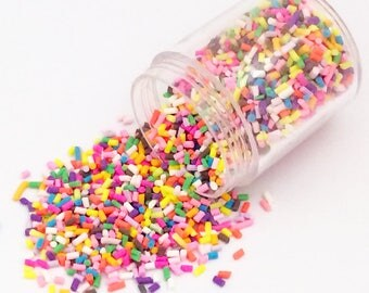 20g Candy Sprinkles - Rainbow Bright Kawaii Cute Fake Food Polymer Clay Cell Phone Deco