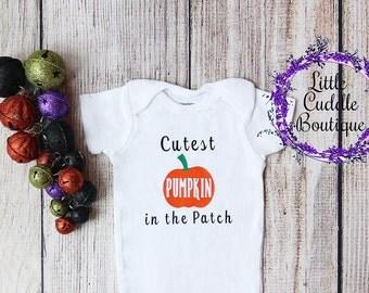 First Halloween Outfit, Halloween Onesie, Cutest Pumpkin In The Patch Onesie, Halloween Baby Onesie, Halloween Girl Onesie, Halloween Baby
