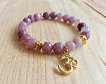 Om Bracelet. Strawberry Pink Quartz Bracelet. Chakra Bracelet. Calming Stone. Mala Beads. Bracelet. Yoga Bracelet. Women Bracelet. Om Charm.