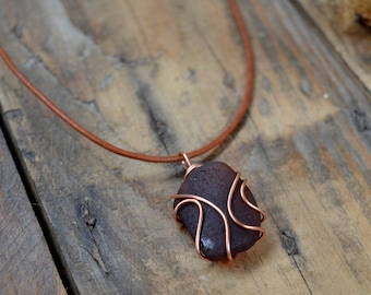 Scottish Sea Glass Wire Pendant, Copper Wired Sea Glass Necklace, Vintage Sea Glass Jewelry, Gifts for Her, Beach Chic, Rustic Pendant