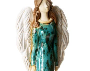 Teal Angel Statuette | Large Angel Of Wellbeing | Table Standing Ceramic Ornament | Quirky Handmade Figurine