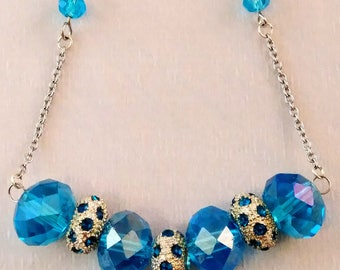 Beautiful Blues bling bar necklace