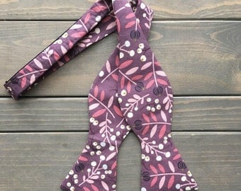 Playful Purple Bow Tie - Self Tie Bow Tie - Floral Bow tie
