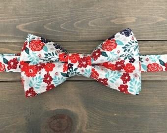 Mens White Pre-Tied Bow Tie - Floral Bow Tie