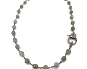Short diamond labradorite necklace, Pave diamond necklace, Gray necklace, Layer necklace, Rosary chain, Blue necklace, Chain necklace