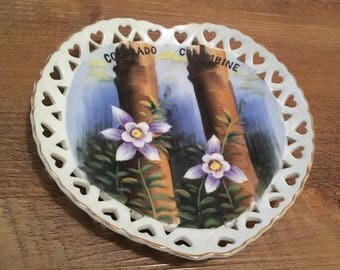Vintage Hand Painted Norcrest Fine China Heart-Shaped Colorado Columbine Hanging Plate