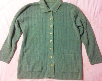 Vintage Wool Grey Brown Cardigan, Vintage Wool Cardigan, Vintage Wool Sweater Cardigan
