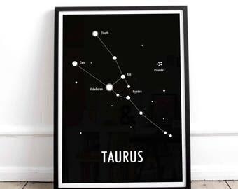 Taurus Poster / Constellation Print / Astronomy Poster / Zodiac Sign / Star Constellation / Scandinavian Art
