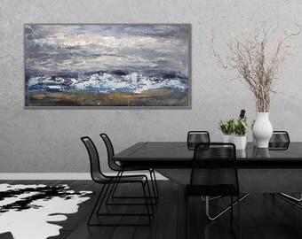 "Modern Wall Art Abstract Painting Blue Acrylic Painting Canvas Art Original Abstract Art Modern Interior Decor Painting 24x48""/60x120cm"