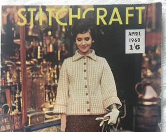 April 1960 Stitchcraft Magazine, Summer knitting patterns, Crochet and Embroidery
