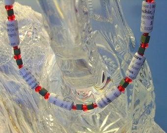 Custom Necklace Fine Paper Beads Glass Crystal Elegant French Designer Book Paper Art Short or Long White Black Custom Colours Chic Fashion