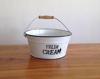 """Fresh cream"" enamel Bowl - wooden handle - vintage"