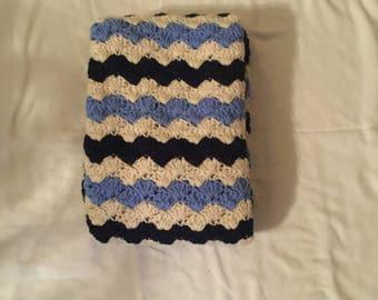 Crochet Baby Blanket-Travel/Stroller/Crib/Car Seat/Dark Blue-Light Blue-White