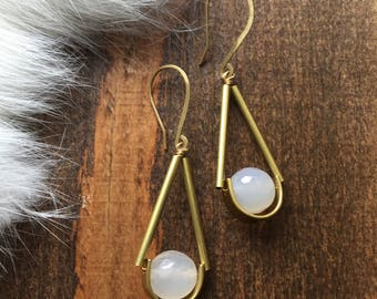 Gray Faceted Agate Himmeli Style Brass Earrings