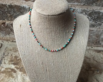 beaded multi colored choker