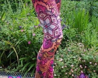 WARM FLOWER Psychedelic Clothing Yoga Leggings Festival Clothing Pixie Leggings Hippie Clothing Sacred Geometry Yoga Pants Psytrance Rave
