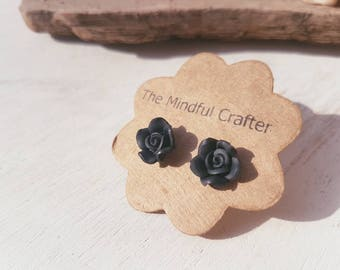 Black rose flower earrings. Black flower jewellery. Flower earrings jewellery. Black rose goth emo jewelry.