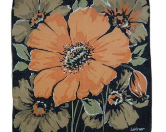 Floral hankie handkerchief poppy Swiss Lehner Vintage 1970s