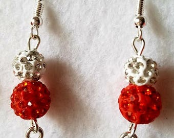 Let's Go Ducks! Orange and White Disco Ball Beads and Duck Charm Earrings Dangle Drop Silver Wire