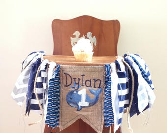 Whale Boy First Birthday High Chair Banner/Cake Smash Photo Shoot Prop/Party Decor/Blue White Nautical Waves/Customize Burlap Banner/Name