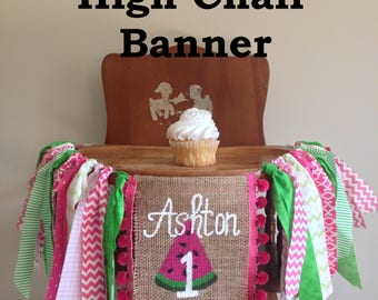 Custom Birthday Highchair Banner / You choose the theme / First Birthday / Cake Smash Banner / Photo Shoot Prop / Party Decor