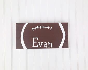 Football Name Wood Sign / Sports Theme Decor / Child or Baby Room / Wall Hanging / Door Sign / Personalized Gift / Reclaimed Wood