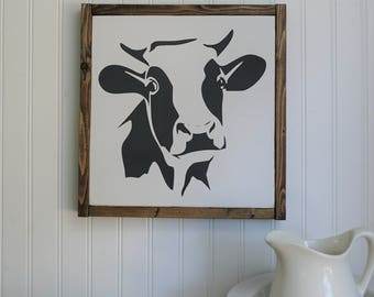 black and white cow | framed wood sign | rustic home decor