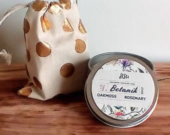 BOTANIK // Oakmoss & Rosemary Scented Soy Candle // 4oz. Candle Tin // Herbal Candle // Moss Candle // Christmas Gift // Home Decor