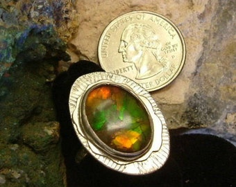 Ammolite Ring Sterling Silver Large OOAK Boho Statement Ring Size 8 Gem Stone from Utah Deposit Red Green Yellow Orange Fire  229G