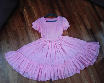 Vintage 1950s Pink Ruffled Dress