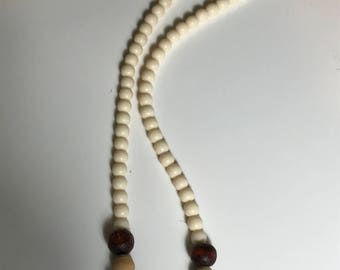 Light Tan and Brown Bead Necklace
