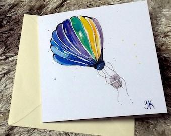 hot air balloon // watercolor card // blank card // print