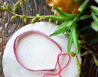 Pink & Silver Braided Friendship Bracelet