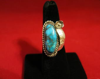 Deep Blue Turquoise and Silver Floral Ring 8 grams Native American