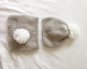 Baby Bunny Hat and Diaper Cover Set | Knit Bunny Set Pom Pom