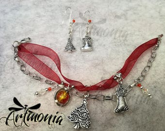 Christmas Time sets-bracelet and earrings with crystal and glass beads-winter party gift Idea