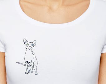 Sphinx embroidered tshirt, Labor day SALE, hand embroidered tshirt, white women tshirt, embroidery t shirt, women clothes, sphynx cat shirt