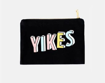 Yikes Cosmetic Bag, Travel Make Up Bag, Funny Makeup Pouch, Cotton Canvas Cosmetic Bag, Black Cosmetic Bag, Cute Cosmetic Bags, 9.5 x 7