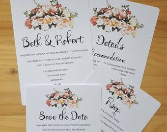 Invitation, RSVP and Save the Date, Floral Watercolour Wedding Stationery