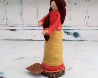 Needle Felted Fairy, Waldorf Inspired, Figure, Yellow and Orange figure, Angel, Ornament, Felted Fairytail Doll, Faerie, Fairie, Figurine