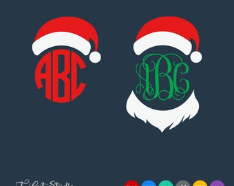 Santa Hat SVG, Christmas SVG, Santa Hat Monogram svg, Christmas Monogram, Svg Files for Silhouette Cameo or Cricut Commercial & Personal Use
