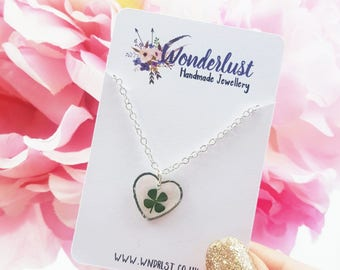 Real Four Leaf Clover Necklace • Botanical • Pressed Flowers • Good Luck Gift • Heart • Silver Jewellery • Artisan • Floral • Nature • Luck