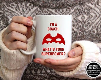 Coach Mug, Coaches Gift, Red and White What's Your Superpower Mug, Coach Coffee Mug, Coach Gift Coffee Cup, Coach Gift Ideas, Office Decor