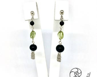 Onyx earrings and Peridot