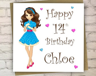 Personalised Birthday Card For Teenager, Cards For Girls, Teenage Card, Daughter, Sister, Cousin, 13/14/15/16/17, Free UK Shipping