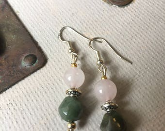 Rose quartz and Indian Agate Earrings