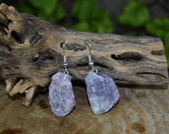 Raw Lepidolite Earrings