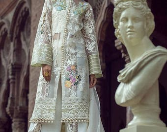 Saadia Mirza Embroidered Chiffon 3 Piece Suit Wedding Collection, Partywear - Made to Order